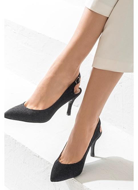Elle İnce Topuklu Ayakkabı Siyah